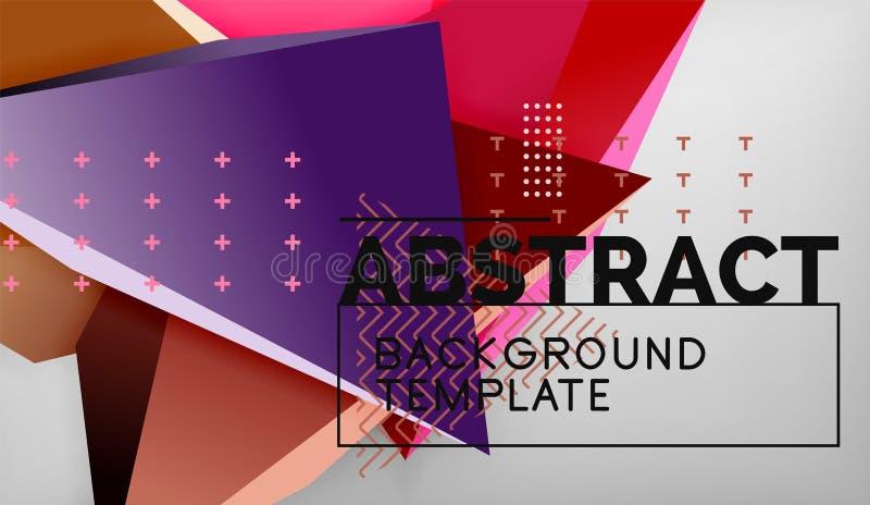 3d geometrische driehoekige vormen vatten achtergrond, de samenstelling van kleurendriehoeken op grijze achtergrond, zaken of hi- royalty-vrije illustratie