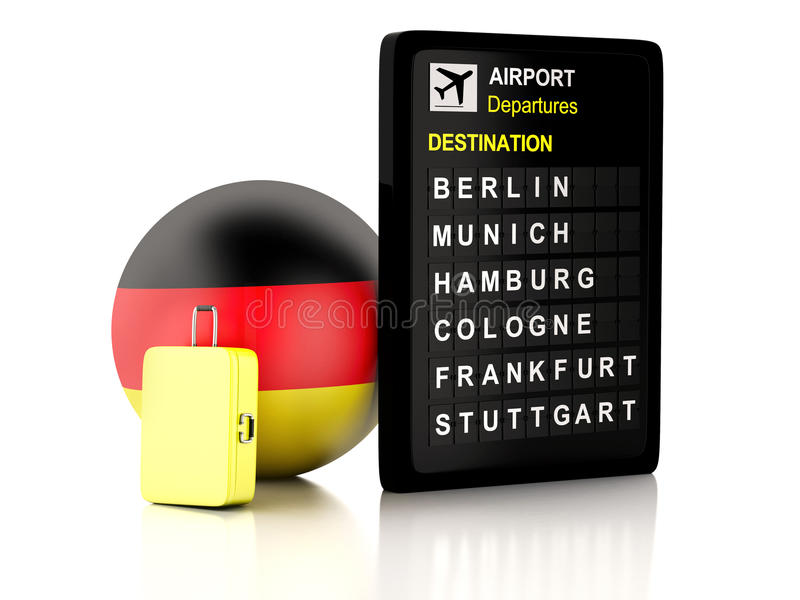3d germany airport board and travel suitcases on white backgrou. Image of 3d illustration render. airport board, germany departures information and travel vector illustration