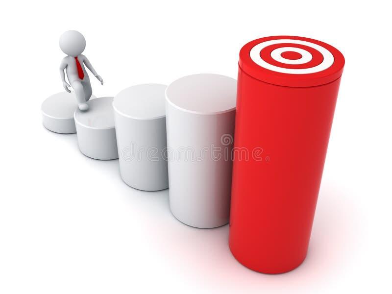 3d Geschäftsmann, der zu seinem erfolgreichen Ziel auf Geschäftsdiagramm steigert stock abbildung