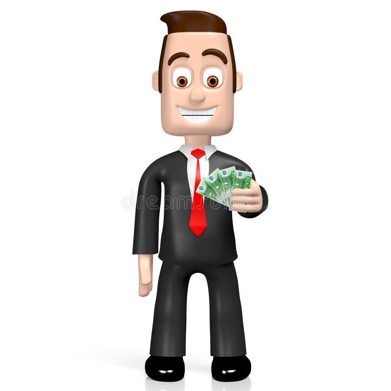 3D Geschäftsmann - hundert Euro lizenzfreie abbildung