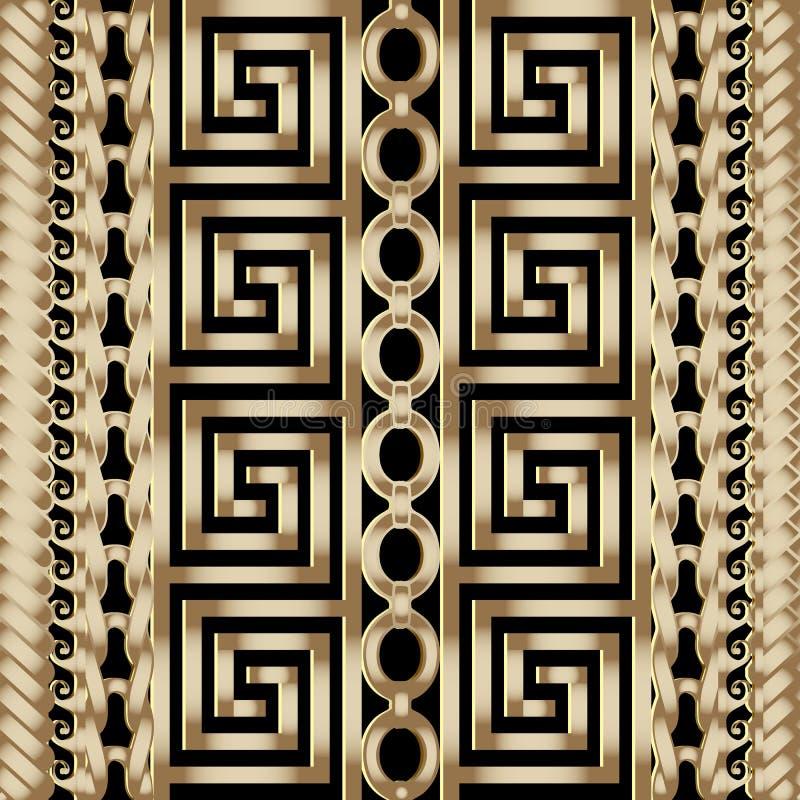 3d gestreept gevlecht Grieks vector naadloos grenzenpatroon royalty-vrije illustratie
