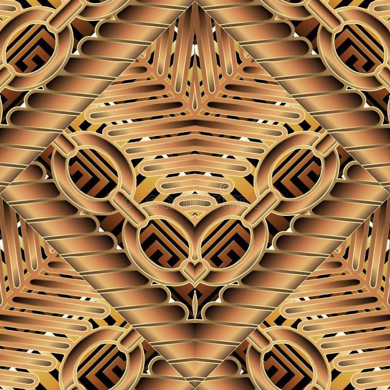 3d gestreept gevlecht Grieks vector naadloos kettingenpatroon Ornamen stock illustratie