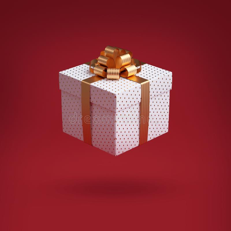 3d gift box with golden bow. Christmas clip art, isolated on red background. Wrapped package with gold ribbon. Festive icon. 3d gift box with golden bow royalty free stock images