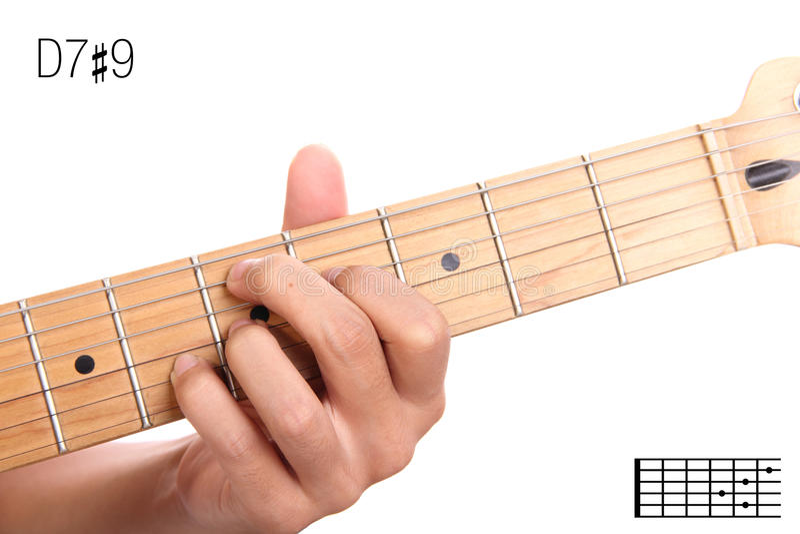 D7 9 gitary akordu tutorial fotografia stock
