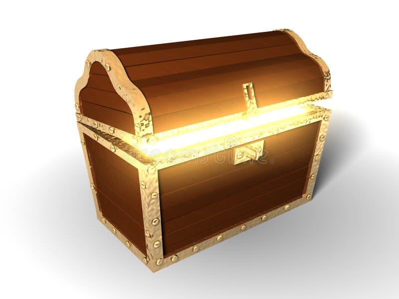 3d: Glühende Schatztruhe stock abbildung