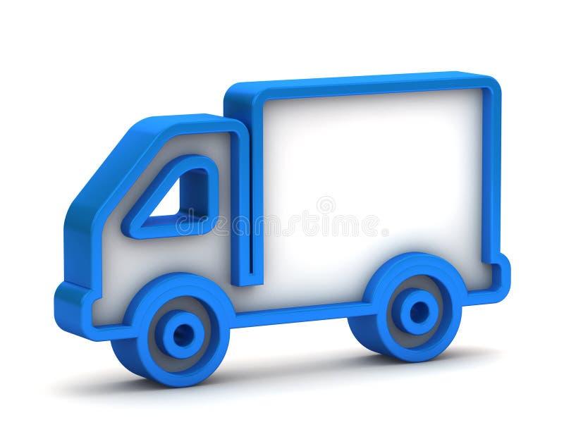 3d glanzend blauw vrachtwagenpictogram royalty-vrije illustratie