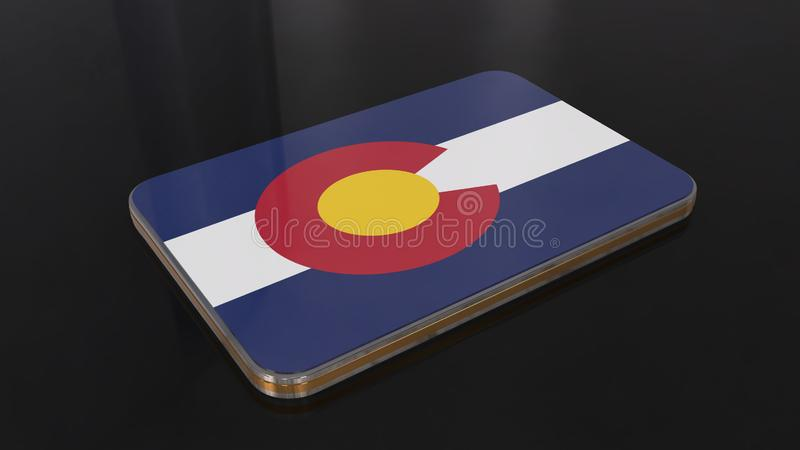 3D glanzend die de vlagvoorwerp van Colorado op zwarte achtergrond wordt geïsoleerd royalty-vrije illustratie