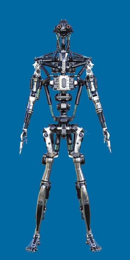 3D Glanzend Metaal die Cyborg-Robot bevinden zich royalty-vrije illustratie