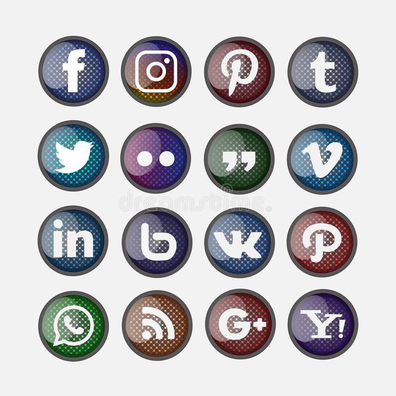3d glanzende geplaatste grill sociale media stock illustratie