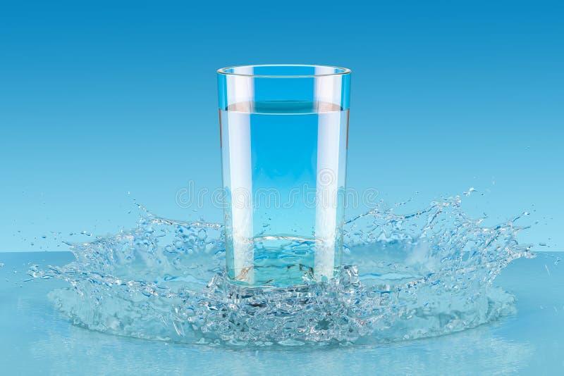 3D glas water met plons, stock illustratie