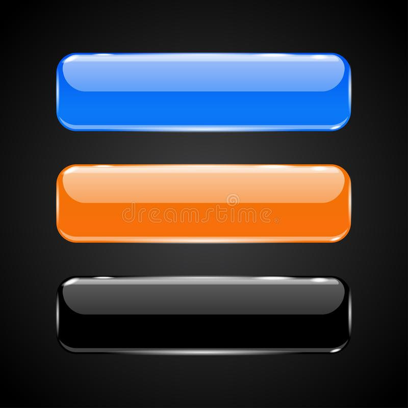 3d glass buttons. Blue, black and orange icons. Vector illustration vector illustration