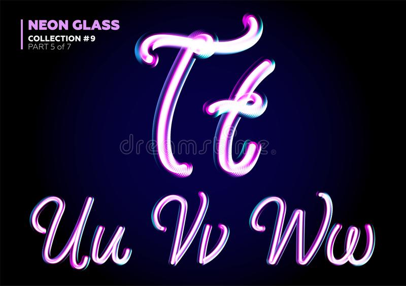3D Glass Letters with Night Neon Light Effect, Glossy Purple stock illustration