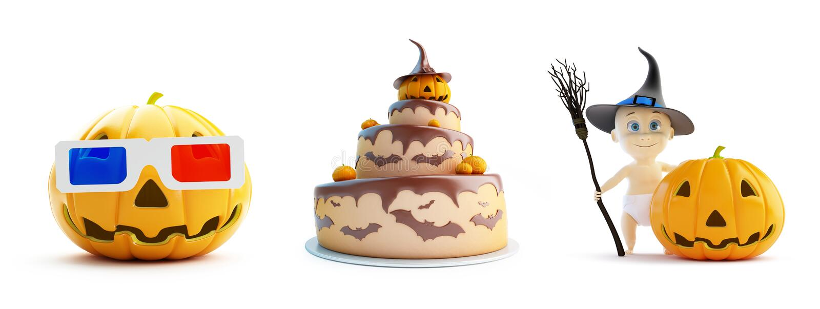 3d glasses, child in a Halloween costume cake on a white background 3D illustration, 3D rendering stock illustration