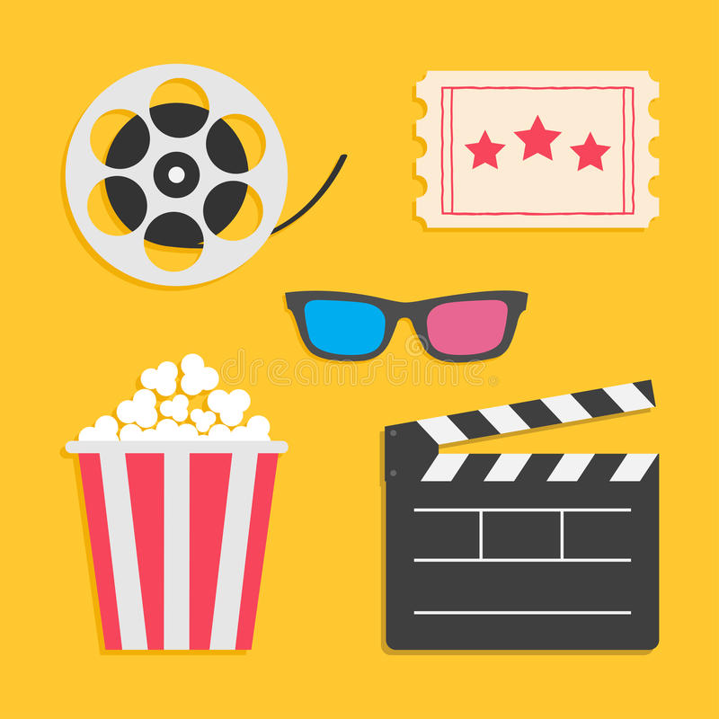 3D glasses Movie reel Open clapper board Popcorn Ticket Cinema icon set. Flat design style. Yellow background. Vector illustration vector illustration