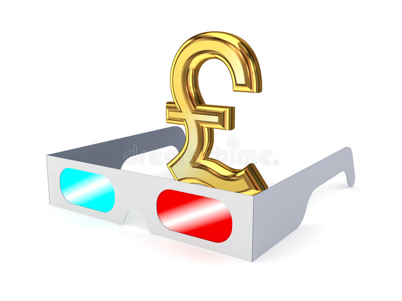 3d Glasses And Sign Of Pound Sterling. Royalty Free Stock Photography