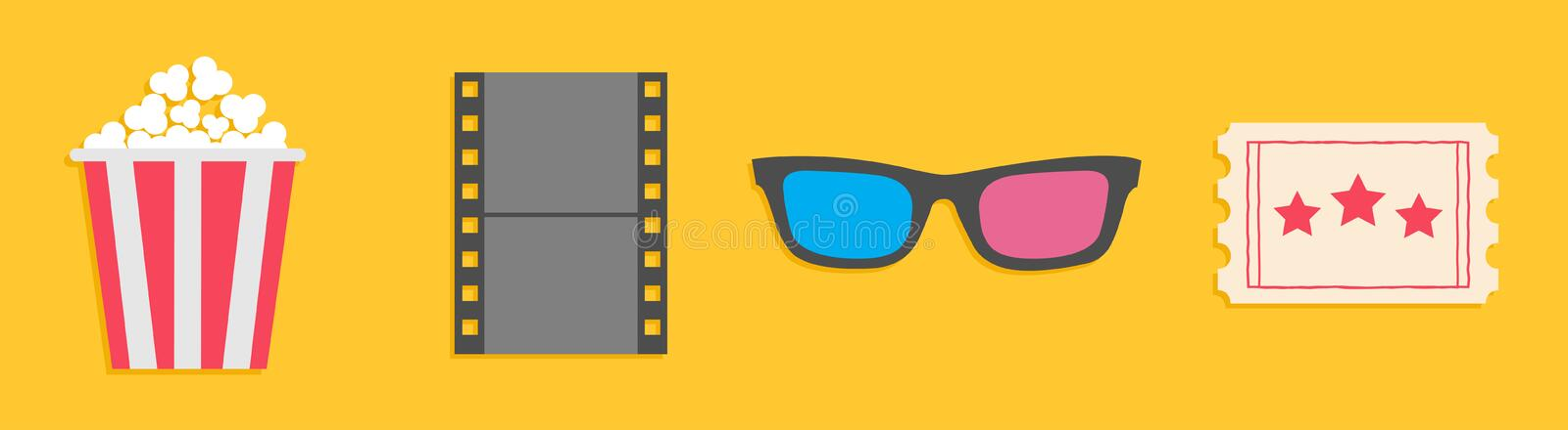 3D glasses, ticket, popcorn, film. Movie cinema icon set line. Flat design style. Yellow background Isolated stock illustration