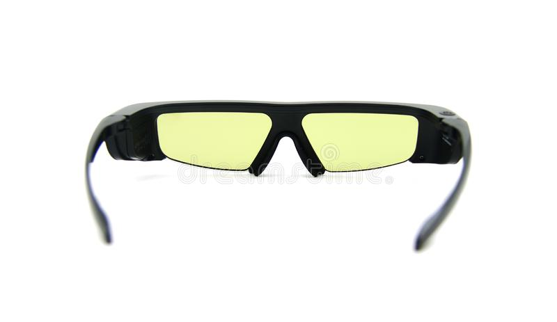 3D glasses.Glasses to watch 3D cinema. 3D glasses, isolated against white background stock image