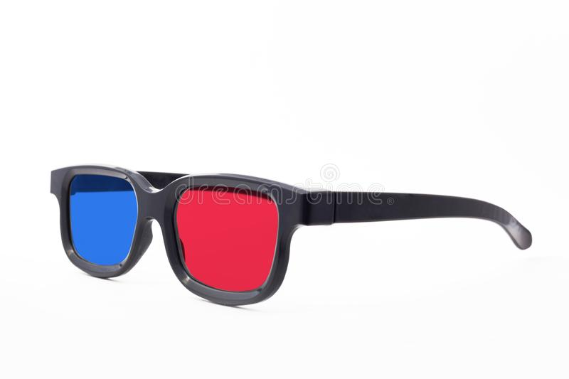 3d glasses on a white background isolated . Cinema glasses frontally. E view stock photography