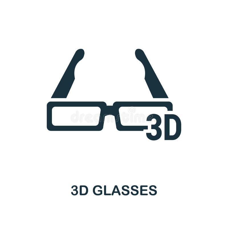 3D glazenpictogram Zwart-wit stijlontwerp van de inzameling van het bioskooppictogram UI en UX E Voor Webontwerp, ap royalty-vrije illustratie