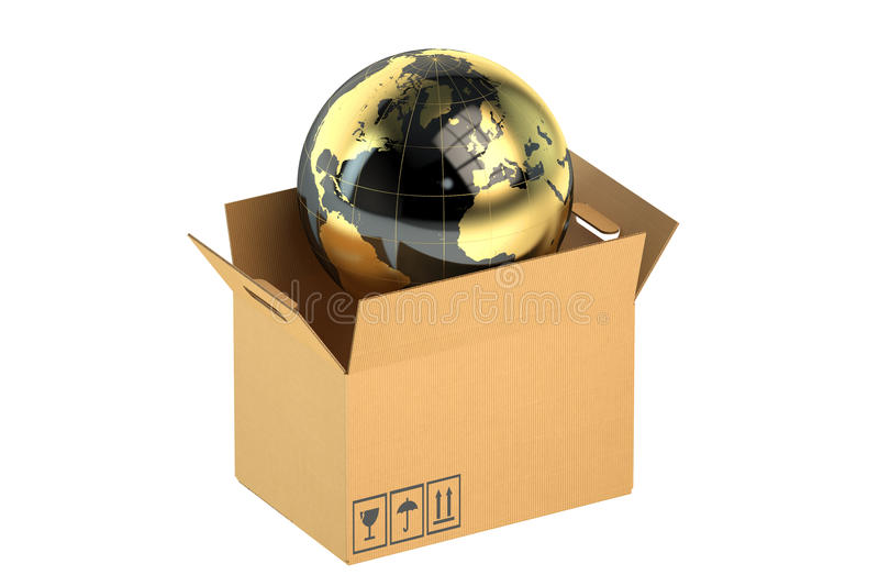 3D Global cargo shipping concept stock illustration