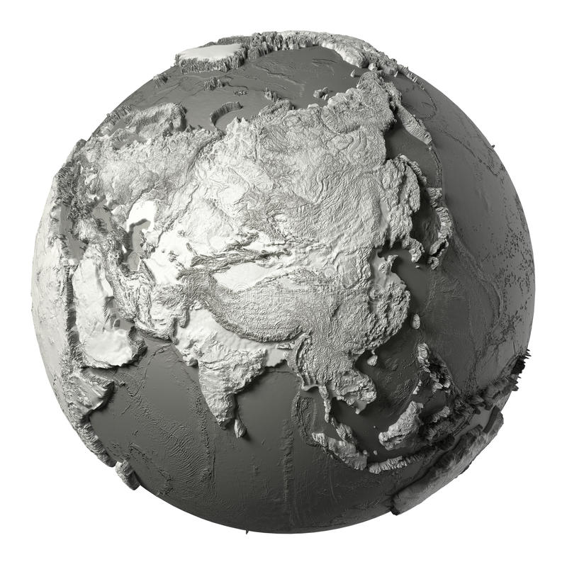 3D Globe Asia. Globe model with detailed topography without water. Asia. 3d rendering isolated on white background. Elements of this image furnished by NASA vector illustration