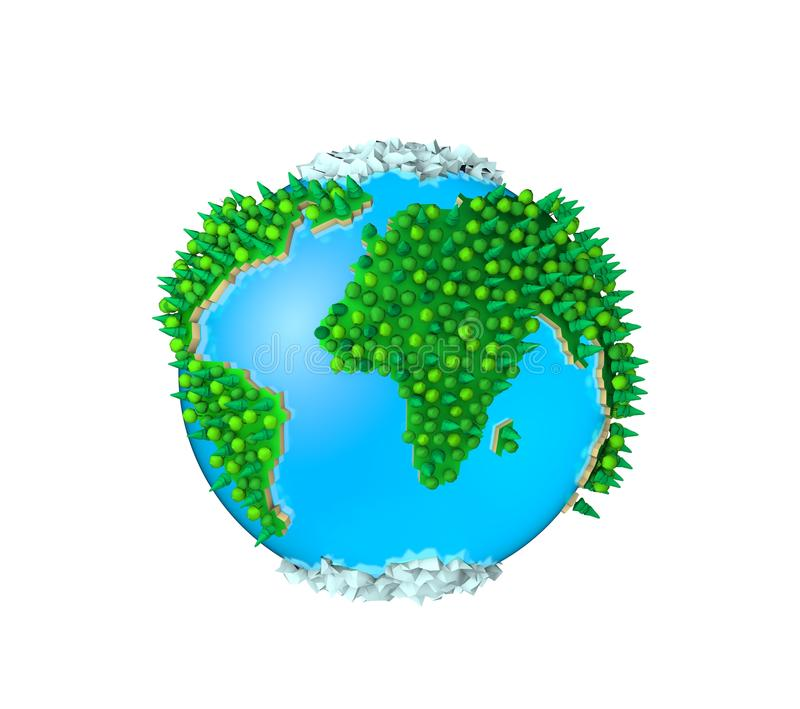 3D globe, Isolated green planet, peace earth. stock illustration