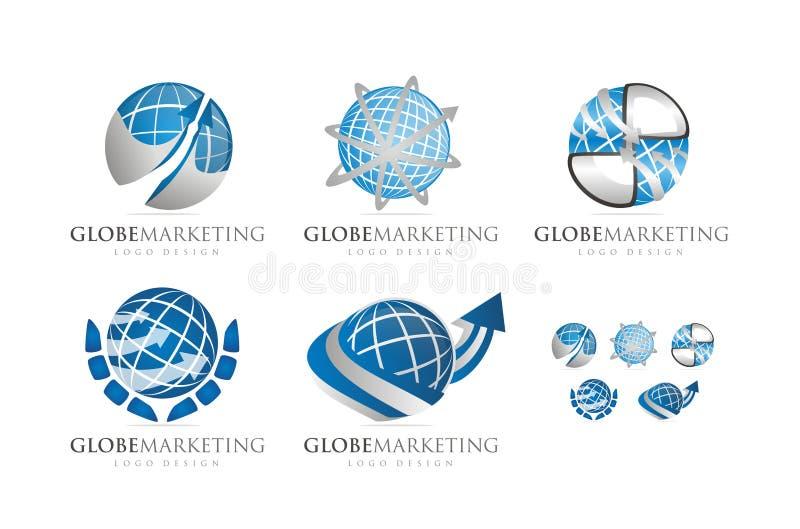 3D GLOBE MARKETING LOGO DESIGN VECTOR. Collection of Editable 3D GLOBE MARKETING LOGO DESIGN VECTOR vector illustration