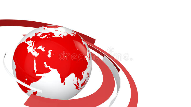3d globe with red and white lines stock photography