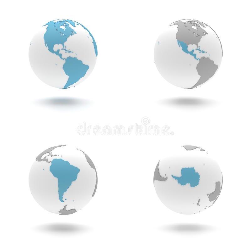 3D Earth Globe Set - The Americas and Antarctica, South stock image