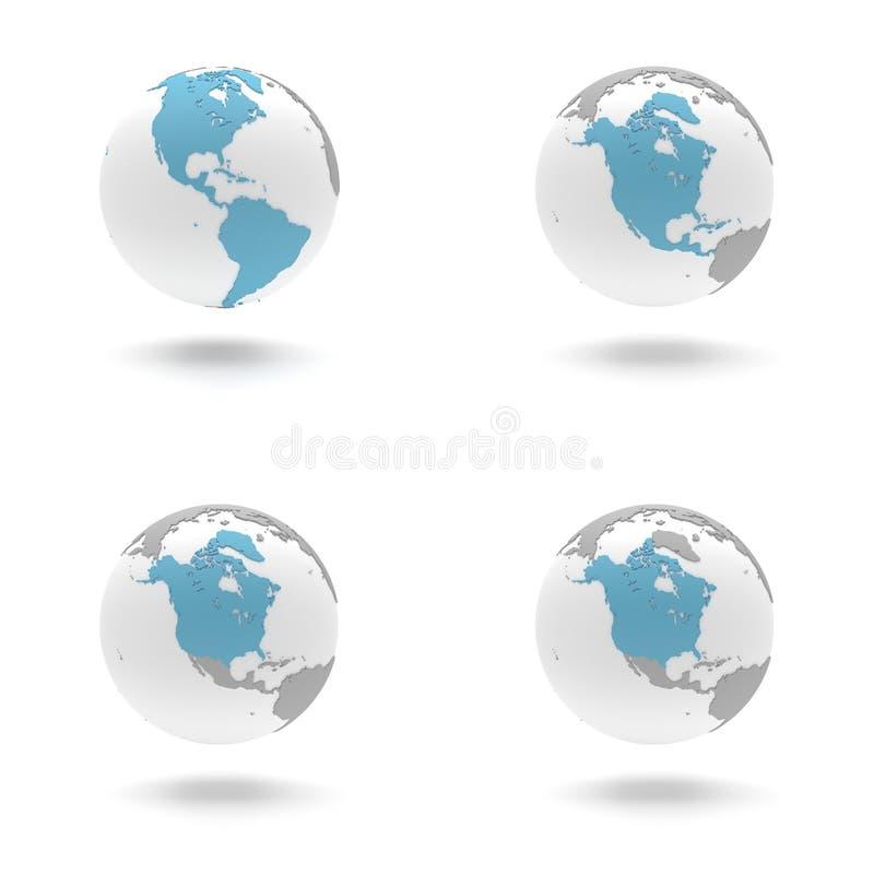3D Earth Globe Set - The Americas, North stock photos