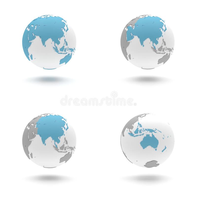 3D Earth Globe Set - Asia and Oceania royalty free stock photo