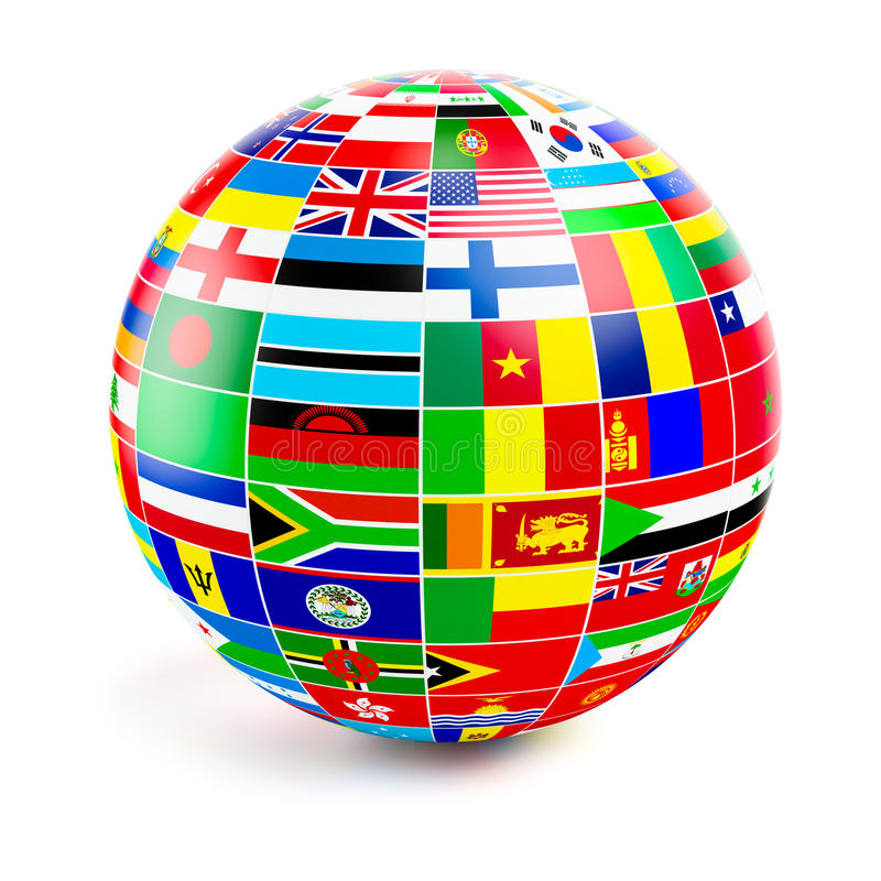 3d globe sphere with flags of the world on white royalty free illustration