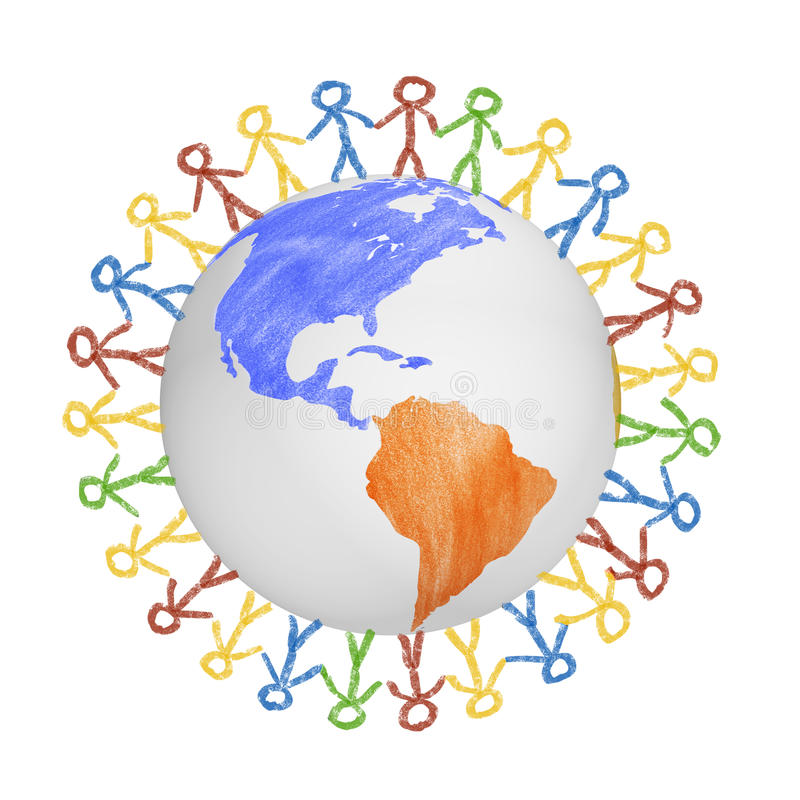 3D Globe with the view on america with drawn people holding hands. Concept for friendship, globalization, communication stock photos