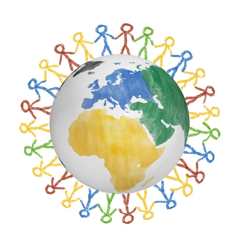 3D Globe with the view on america with drawn people holding hands. Concept for friendship, globalization, communication. And diversity stock illustration