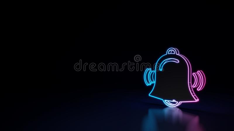 3d gloeiend die neonsymbool van symbool van alarm op zwarte achtergrond wordt geïsoleerd vector illustratie