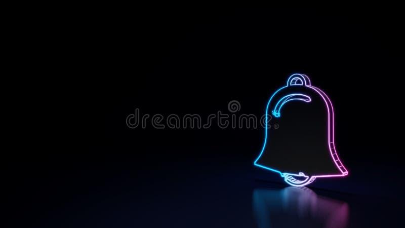 3d gloeiend die neonsymbool van symbool van alarm op zwarte achtergrond wordt geïsoleerd royalty-vrije illustratie