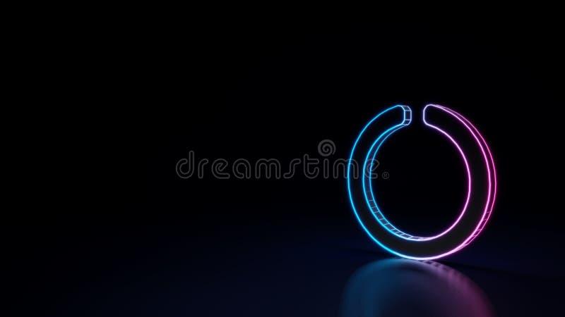 3d gloeiend die neonsymbool van symbool van cirkelinkeping op zwarte achtergrond wordt geïsoleerd stock illustratie