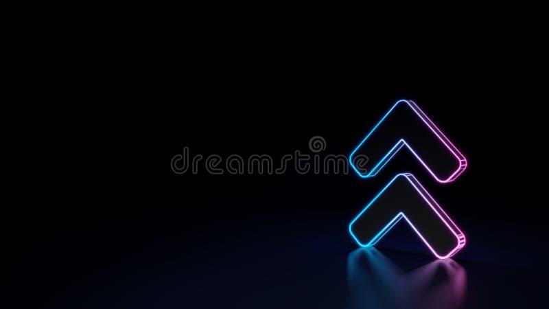 3d gloeiend die neonsymbool van symbool van hoekdubbel omhoog op zwarte achtergrond wordt geïsoleerd stock illustratie