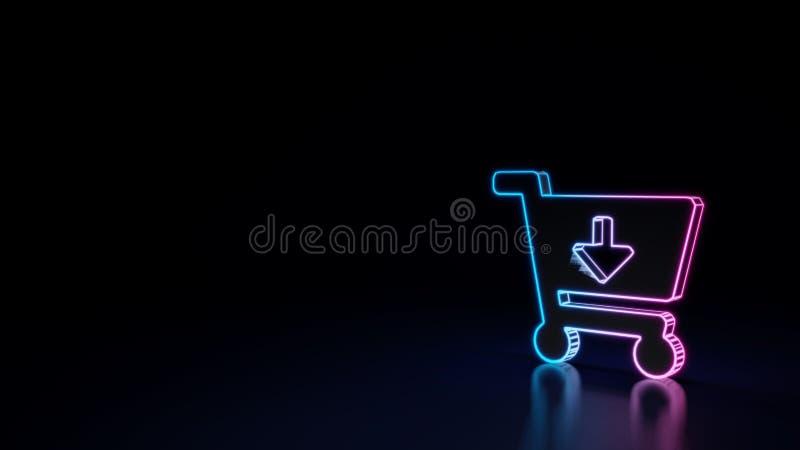 3d gloeiend die neonsymbool van symbool van karpijl neer op zwarte achtergrond wordt geïsoleerd vector illustratie