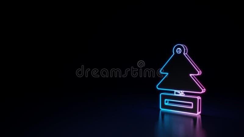 3d gloeiend die neonsymbool van symbool van luchtverfrissing op zwarte achtergrond wordt geïsoleerd vector illustratie