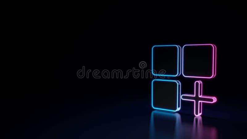 3d gloeiend die neonsymbool van symbool van mobiele toepassing op zwarte achtergrond wordt geïsoleerd royalty-vrije illustratie