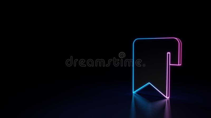 3d gloeiend die neonsymbool van symbool van referentie op zwarte achtergrond wordt geïsoleerd stock illustratie