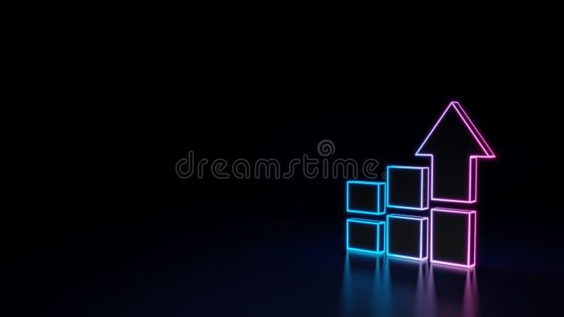 3d gloeiend die neonsymbool van symbool van staafdiagram op zwarte achtergrond wordt geïsoleerd stock illustratie