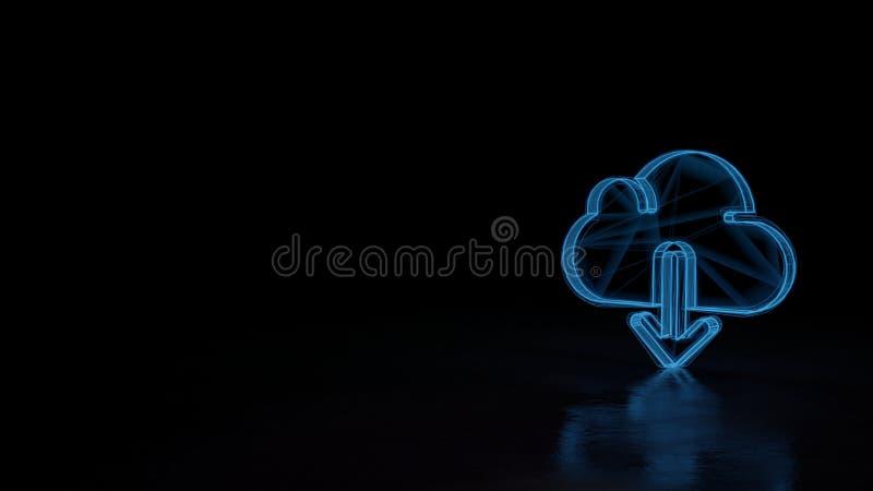 3d gloeiend die wireframe symbool van symbool van download van wolk op zwarte achtergrond wordt geïsoleerd stock illustratie