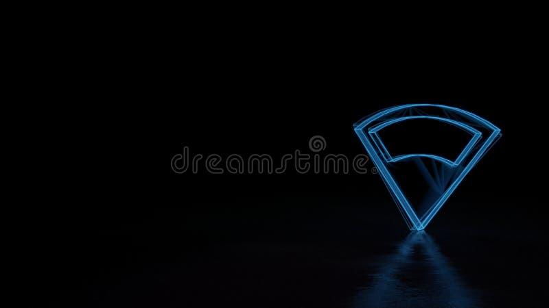 3d gloeiend die wireframe symbool van symbool van verbinding 3 op zwarte achtergrond wordt geïsoleerd vector illustratie
