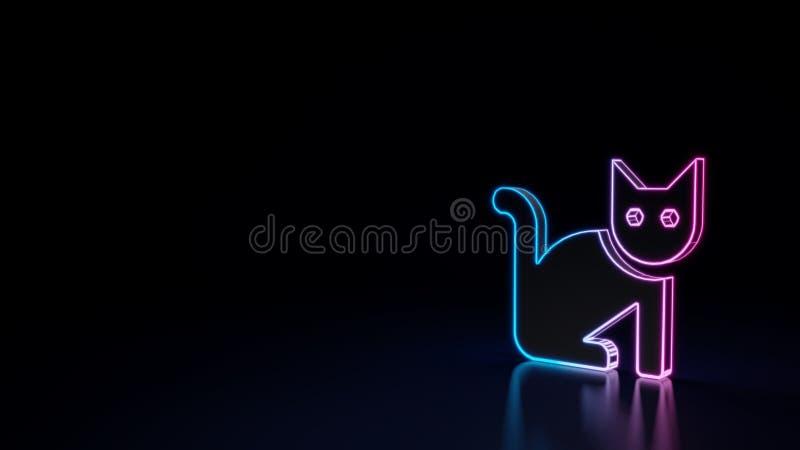 3d gloeiend neonsymbool van symbool van kat op zwarte achtergrond royalty-vrije illustratie