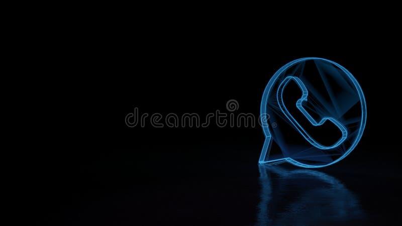 3d gloeiend wireframe symbool van symbool van geïsoleerde mededeling whatsapp over zwarte achtergrond royalty-vrije illustratie