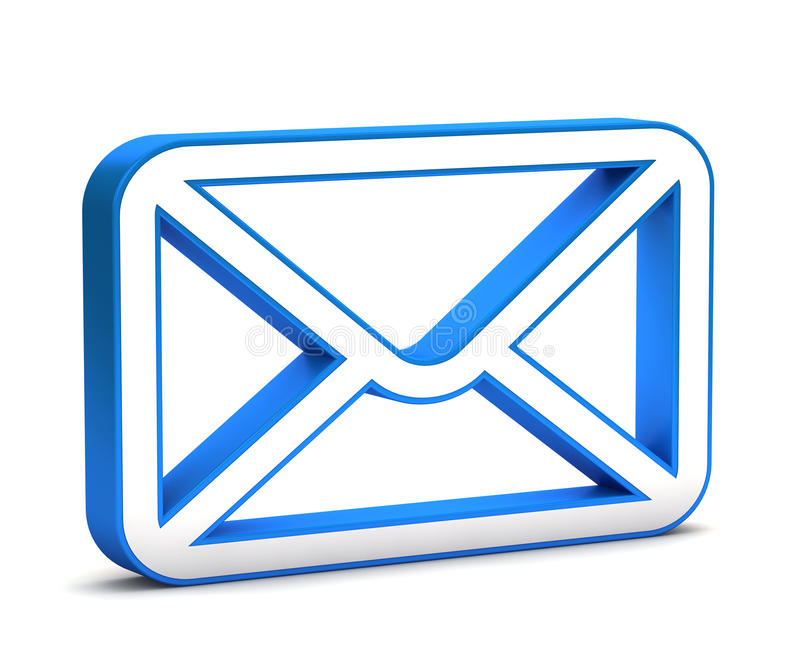 3d glossy blue mail icon stock illustration