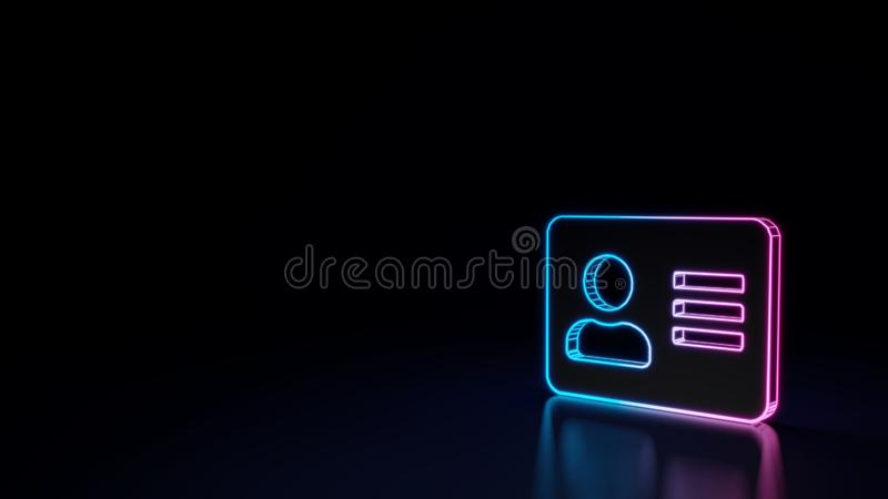 3d glowing neon symbol of symbol of address card isolated on black background royalty free illustration