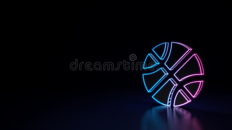3d glowing neon symbol of symbol of basketball ball isolated on black background royalty free illustration